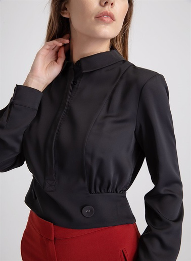 Rue Uzun Kollu Bluz Siyah